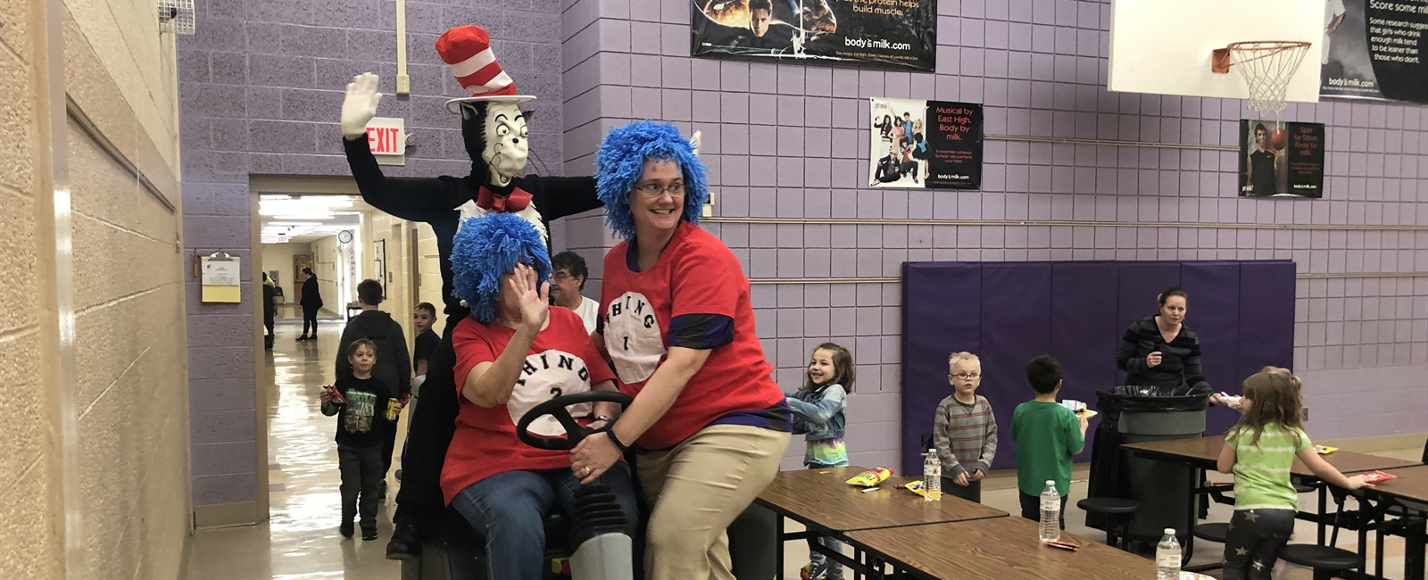 The Cat in the Hat, Thing 1, and Thing 2 visited B.L. Miller Elementary School to celebrate Dr. Seuss' birthday.
