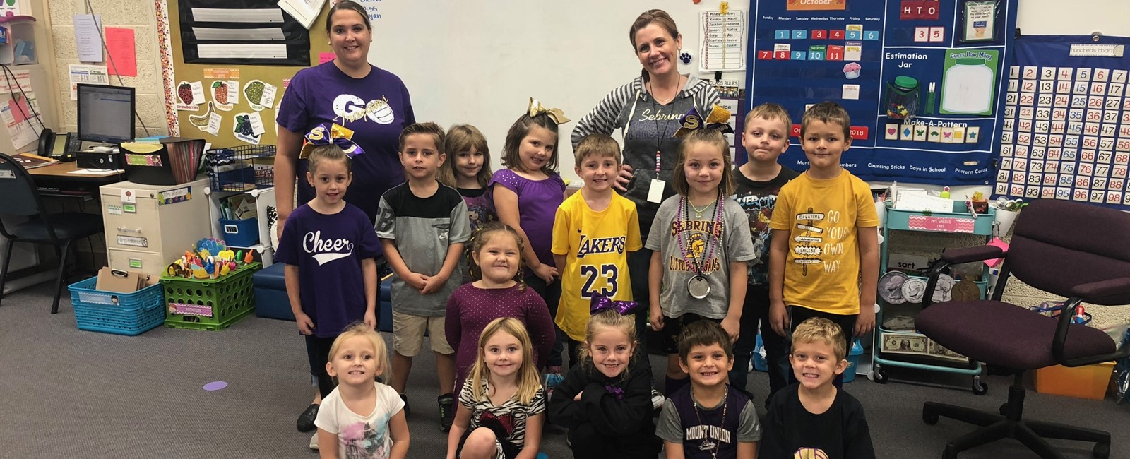 Purple & Gold Day during Spirit Week at B.L. Miller Elementary