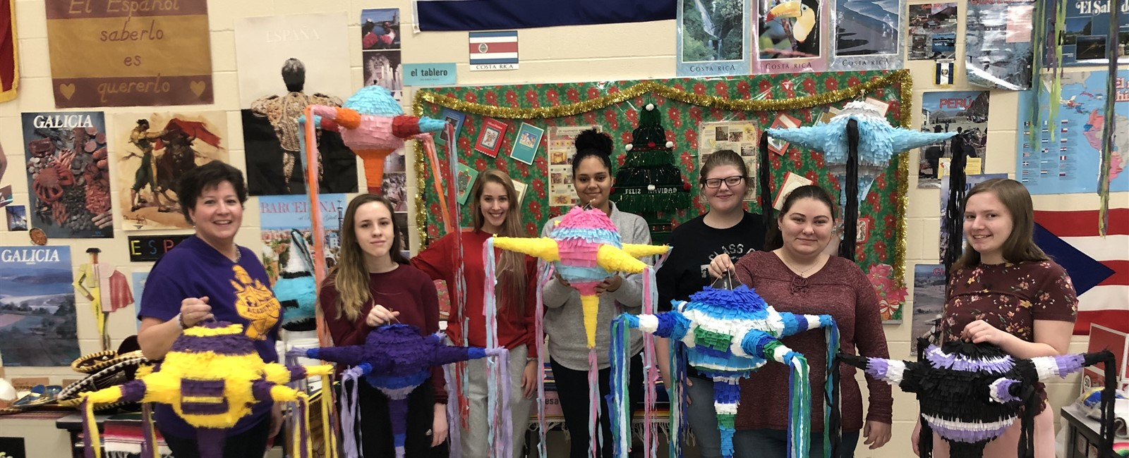 Spanish IV created piñatas to celebrate Christmas, which is a tradition in Mexico.