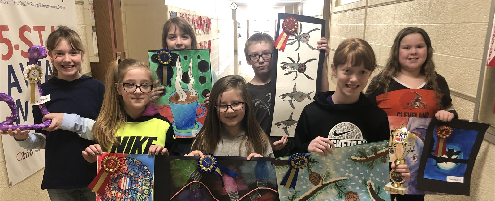 These B.L. Miller Elementary 4-6 students won awards for the school's art show on Thursday, February 14, 2019.