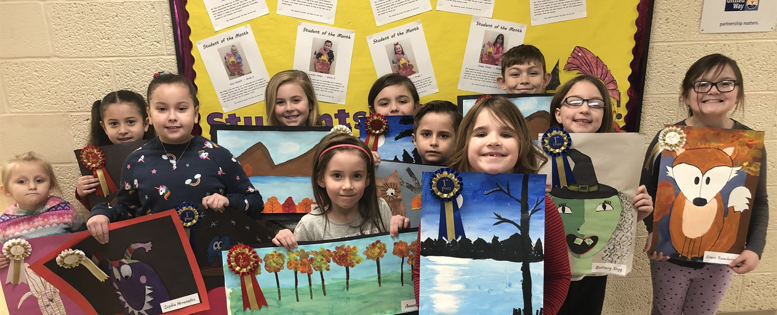 These B.L. Miller Elementary K-3 students won awards for the school's art show on Thursday, February 14, 2019.