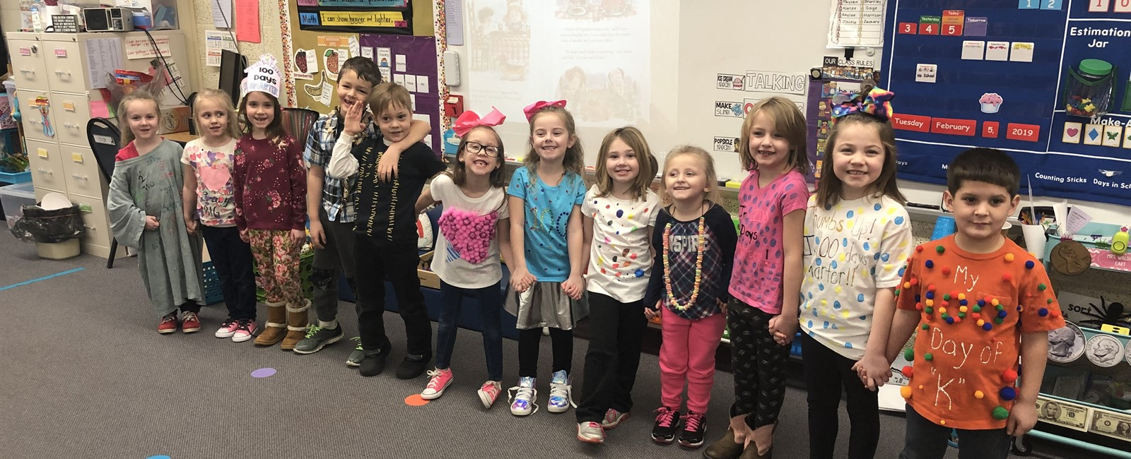 B.L. Miller Elementary kindergarten students celebrated the 100th day of school by creating their own shirts.