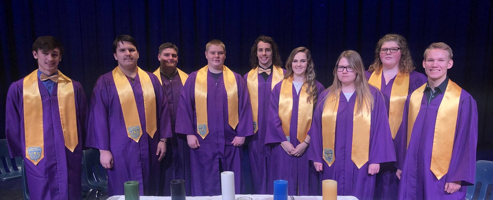Sebring McKinley High School's nine newest members of the National Honor Society: Jacob Hunter, Miles Shoffner, Noah Dennis, Camden Green, Zane Peterson, Hannah Warner, Chasity Smarr, Brenna Soules, and Joseph Clark.