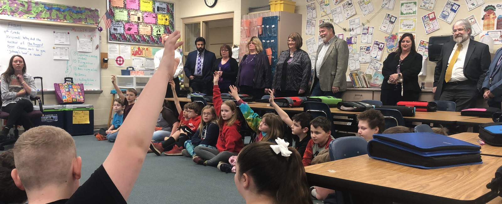 Paolo DeMaria, Ohio Department of Education's Superintendent of Public Instruction, observes an interactive read aloud in Mrs. Kandel's class.