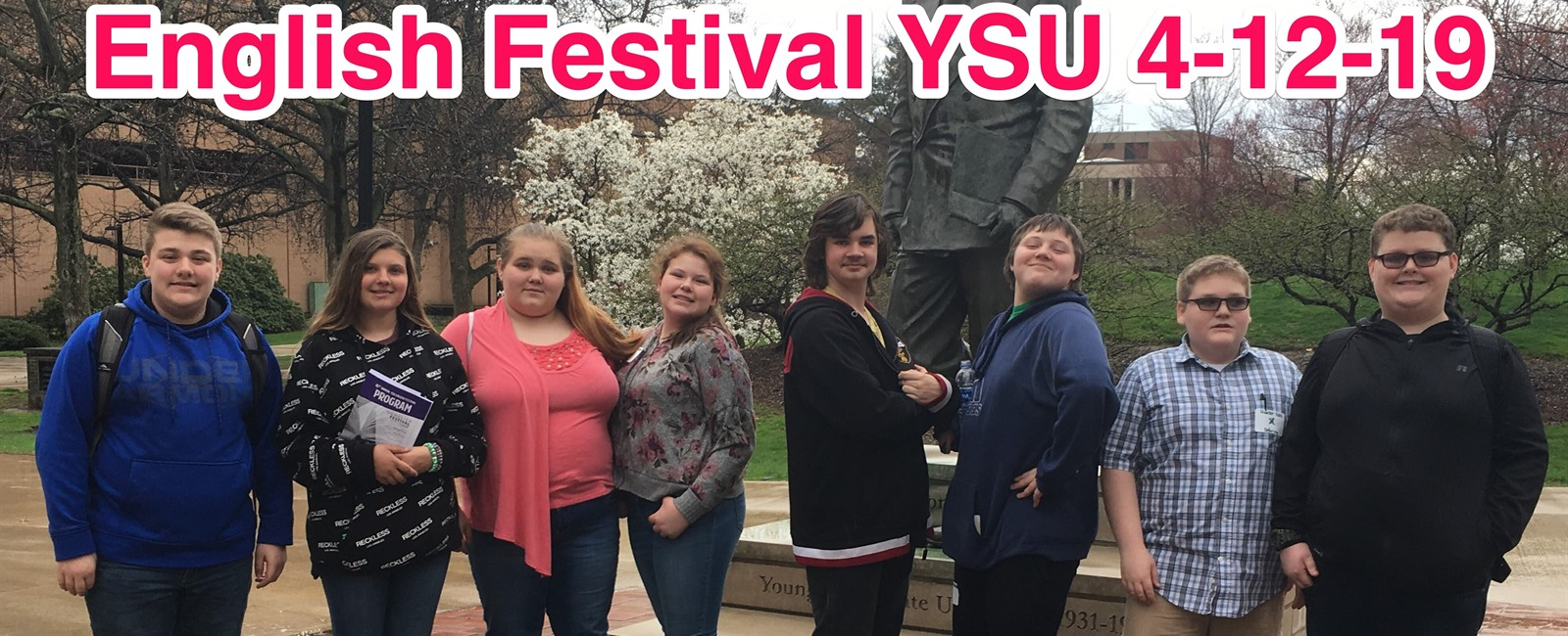 Eight Sebring McKinley Junior High School students attended the Youngstown State English Festival on Friday, April 12, 2019.