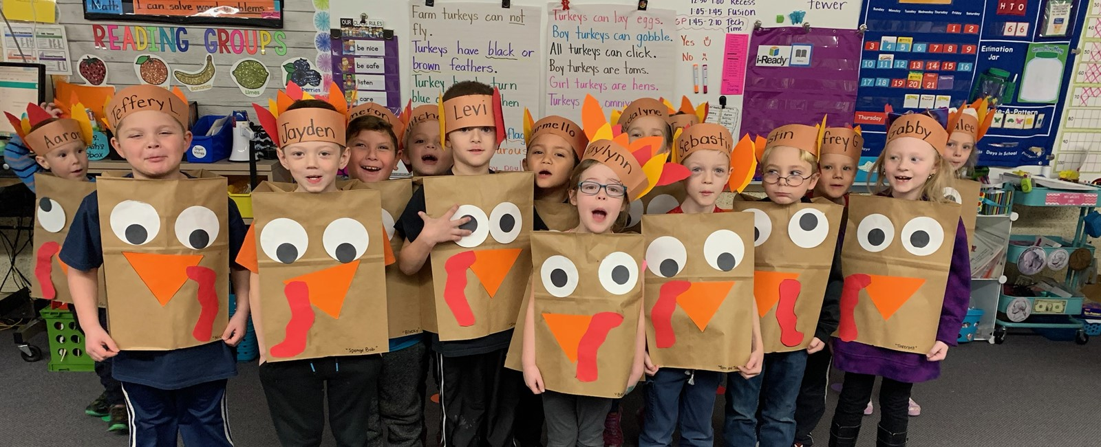Our Kindergartners enjoyed dressing up as turkeys and eating a delicious Thanksgiving lunch!