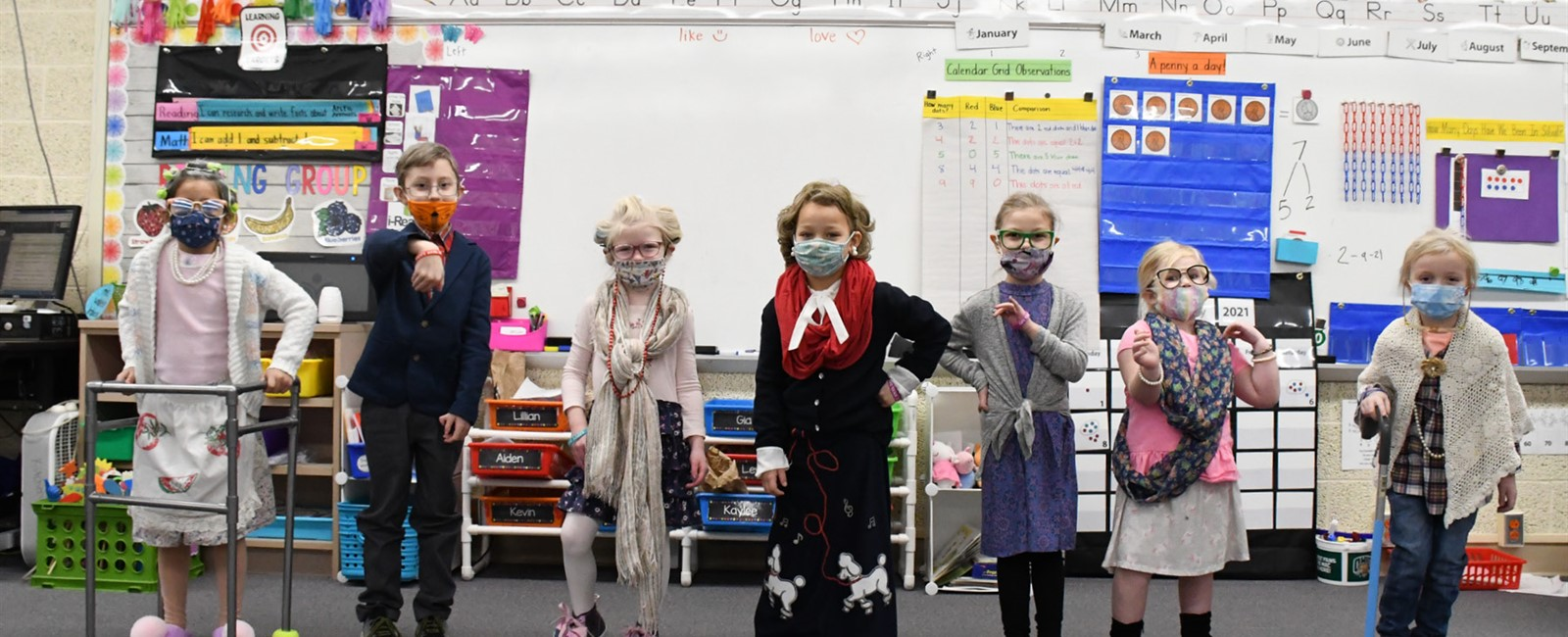 B.L. Miller Kindergarten Students celebration 100 Days of School!