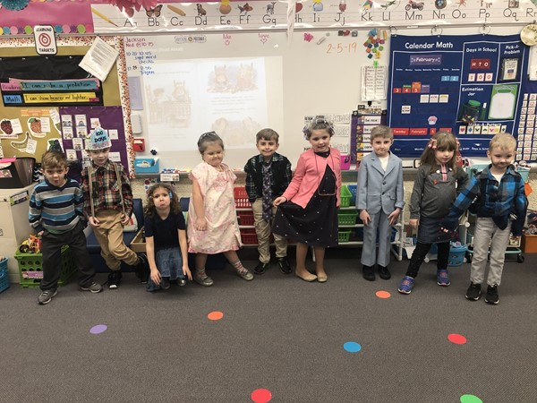 Students dressed as if they are 100 years old for the 100th day.