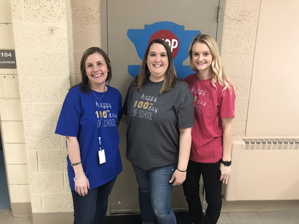 The teachers created special shirts for the 100th day.
