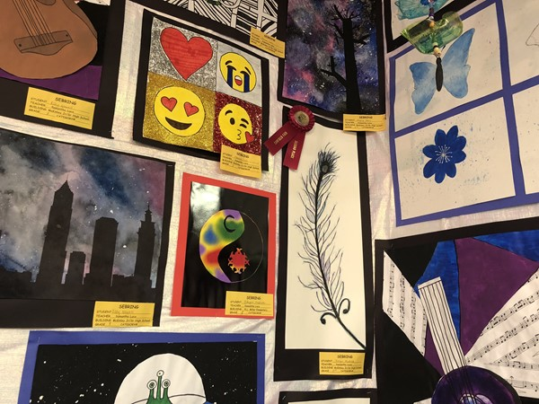A close up of the students' artwork.