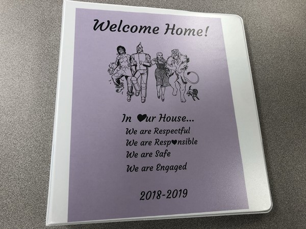 The front cover of the binder each McKinley Junior and Senior High School student received.