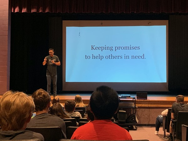 Alex Sheen, Founder of Because I Said I Would, spoke with McKinley students about his inspirational journey and how the concept of promise cards came to be.