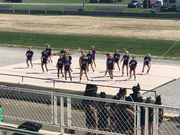 Sebring McKinley High School cheerleaders perform at the Canfield Fair's cheer demo.