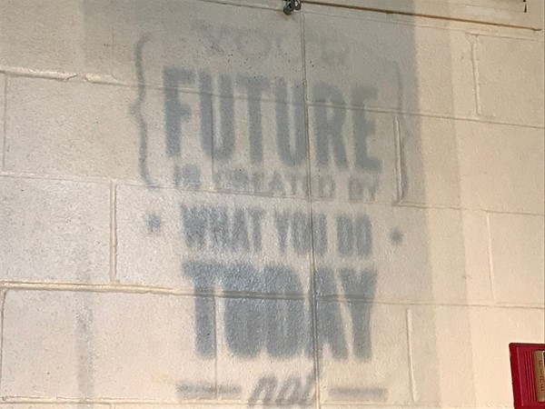 An outline of Your future is created by what you do today is projected on the wall.